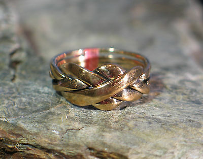 Ring Bronze Puzzlering Flechtring 4 teilig Puzzle