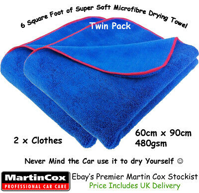 Extra Large Soft Microfibre Car Drying Towel 60 x 90cm  Quality Cloth Twin Pack
