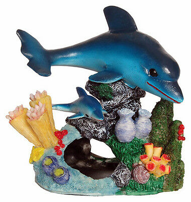 Dolphins with Coral Reef Base Fish Tank Decoration Aquarium Ornament AQ28137