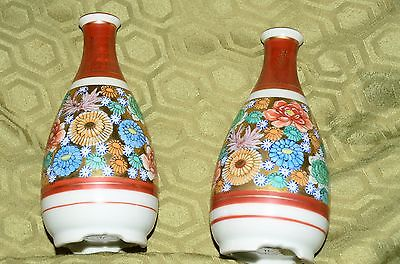 Genuine Kutani Oriental Japanese Porcelain Pair of Vases or Tokkuri Sake Servers
