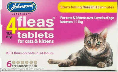 Johnsons 4fleas tablets cat kitten 6 tablet pack flea treatment