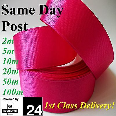"Satin Ribbon- All Colours Quality 25mm 1"" wide Raspberry 2...50 100m Decorations"