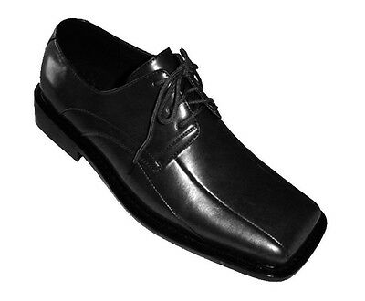 Men's High Quality Man Made Leather Solid black Dress Shoes w/ Square Toe A3391
