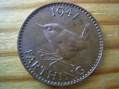 1947  george v1 wren  farthing collectable