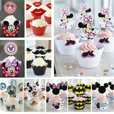 Fashion Cartoon Paper Baking Cups with Sponge Cake Decoration without Toothpick