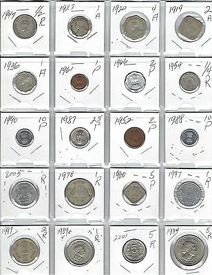 INDIA Lot of 20 Different Coins - 5 British India Coins - Nice Indian Coin Lot