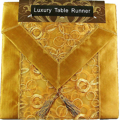 """GOLD EMBROIDERED TABLE RUNNER LUXURY ORGANZA SATIN SILK POLYESTER 13x72"""""""