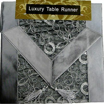 """SILVER EMBROIDERED TABLE RUNNER LUXURY ORGANZA SATIN SILK POLYESTER 13x72"""""""