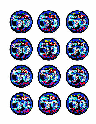 50th Birthday Theme Edible CUPCAKE Decoration Toppers Icing Image Circles