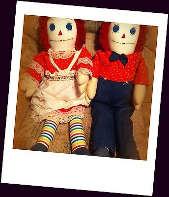 Handmade Vintage Raggedy Ann And Andy Dolls 40 Plus Years Old Hand Crafted Sewn