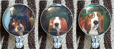 Badge Reel Retractable ID Name Card Holder Steampunk Dogs Basset Hounds In Hats