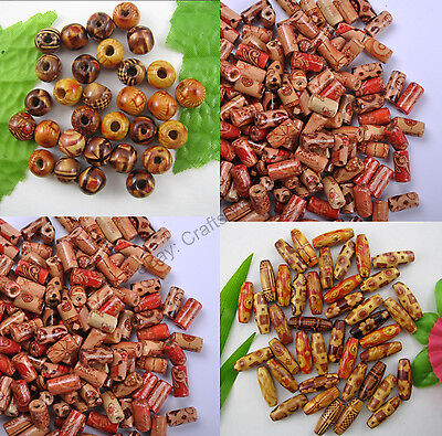 100pcs MIXED Round & Oval & Shapes Charms WOOD Loose BEADS Choose 10MM 12MM 15MM