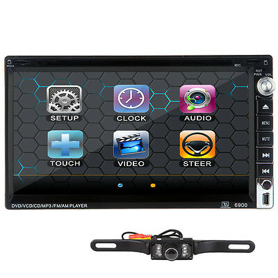 Camera+HD Double 2Din Touch Screen InDash Car DVD Player BT TV iPod Radio Stereo