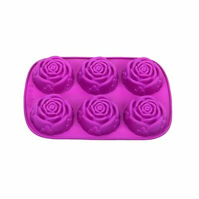 6-Cavity Silicone FLOWER ROSE Cake Candy Mold Jelly Cupcake Mould Baking Pan N3