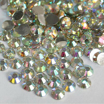 New 1000x 3mm Flatback Crystal AB 14 Facets Resin Round Rhinestone Beads #.L