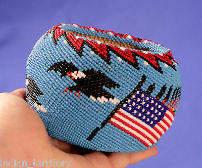 Paiute Indian Beaded Basket with American Flag Motifs, Eagles, and Buffalo