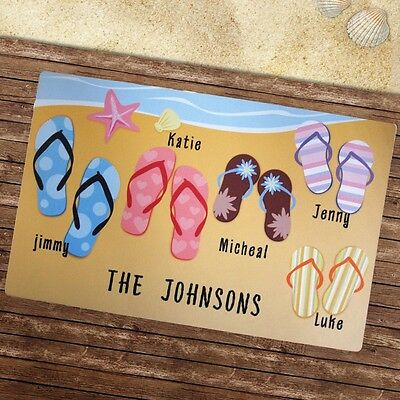 Summer Beach House OR Pool Area Doormat ** Add Family Names -- Last and/or first