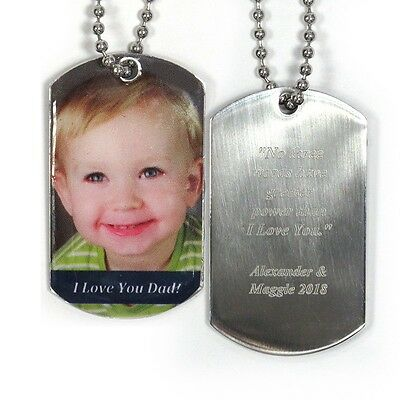 Personalized Dog Tag Pendant Necklace*Add Photos and /or Text*Great Gift for Him