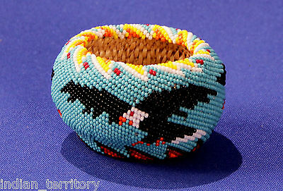 Paiute Indian Beaded Basket: Light Blue with Eagles