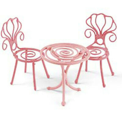 """2.25"""" My Fairy Gardens Tiny Bistro Cafe Set of 3 - Pink - Micro Table and Chairs"""