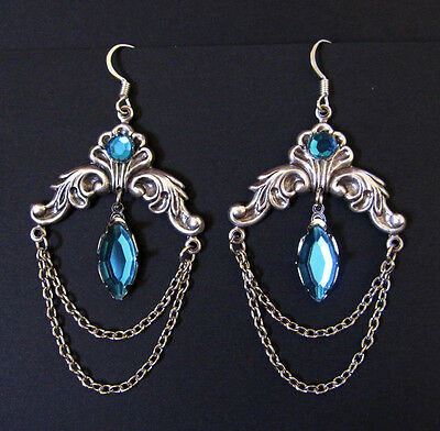 Goth RENAISSANCE Medieval Elf ELVEN Silver EARRINGS Bridal Princess Queen NEW