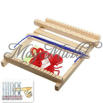 Traditional Wooden Weaving Toy Loom with Accessories Childrens Craft Box New E