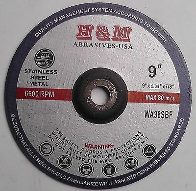 """10 New 9""""x5/64""""x7/8"""" Cut-off Wheels for SS & Metal Cutting Disc Type 1"""