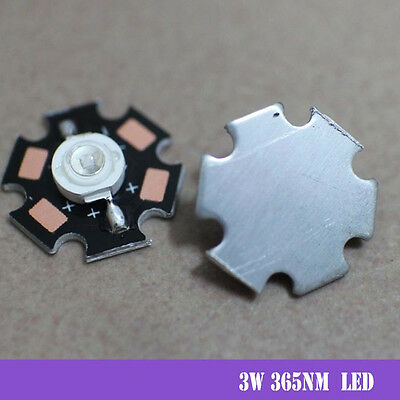 5pcs x 3W Ultra Violet UV High Power LED 365nm Emitter with 20mm star
