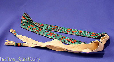 """Great Basin Paiute Indian Beaded Belt on native tanned hide  61"""" long, mint cond"""