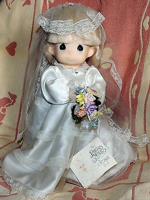 Precious Moments Jessi Doll  Bride w Stand has tag 15 in tall