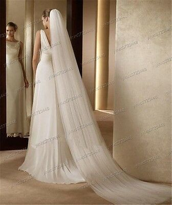 New Hot Sale White/Ivory 2-Tier Cathedral Bridal Wedding Veil High Quality