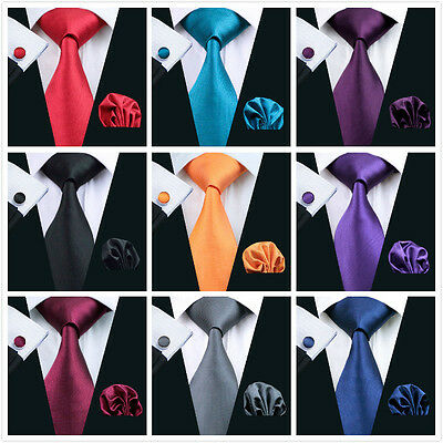 New Mens Silk Plain Ties Wedding Necktie Formal Casual Party Jacquard Woven 2016