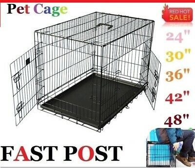 "Pet Dog 24""/30""/36""/42""/48"" Cage Crate Fold Metal Kennel Portable Puppy Cat Pets"