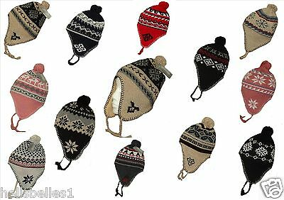 Boy/girl's Peruvian/nepal Winter Hats With A Bobble&tassels One Size