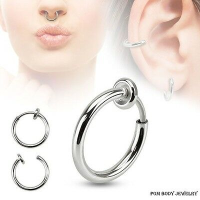 PAIR of Spring Loaded NO Piercing FAKE Illusion Clip On Septum Lip Earring Belly