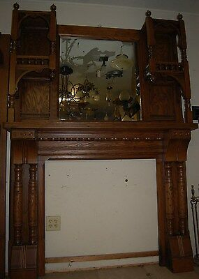 Vintage Oak Carved Victorian  Fireplace Mantel w/ Mirror, Fret Work