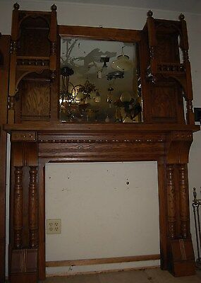 Wonderful Vintage Oak Carved Fireplace Mantel w/ Mirror, Fret Work!