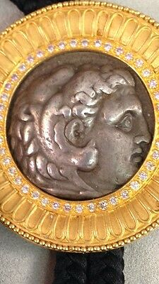 22kt Solid Gold Diamond Ruby Sumer Collection Drachma Byzantine Period Coin Bolo