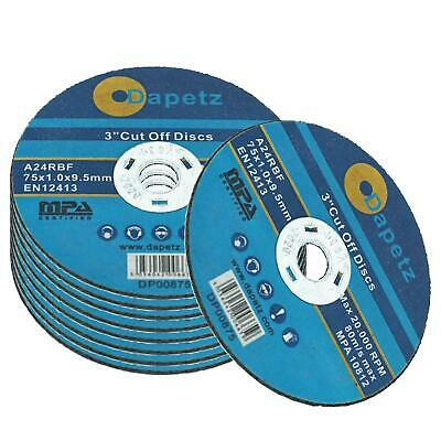 10 Pack 75mm x 1mm Metal Cutting Cut Off discs 9.5mm Bore