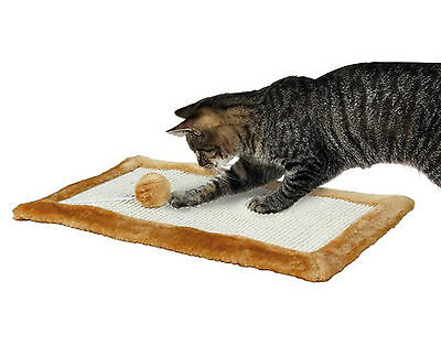 Trixie Scratching Mat For Cats Kittens With Sisal Base Plush Edge And Toy