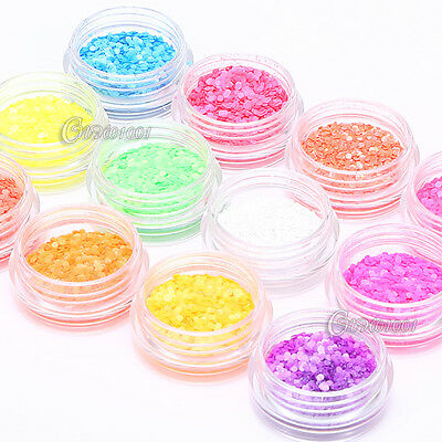 12 Color Nail Art Acrylic Shiny Glitter Sequins Tips Decoration Set DIY Manicure