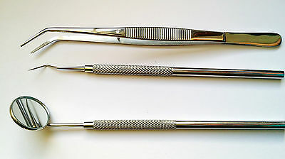 Dental Examination set Probe,Plain mouth mirror 4 & Dental Tweezer tooth scraper