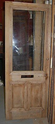 Vintage Pine Fir Cottage Door, mail slot, w/ window