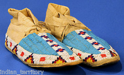 Plains Indian Moccasins, glass seedbeads, native tanned hide, rawhide soles