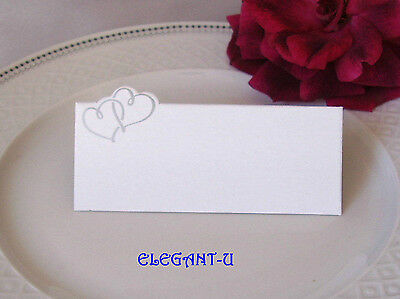 SILVER Entwined Twin Hearts BLANK Wedding Name Place Card Choose Quantity - BULK