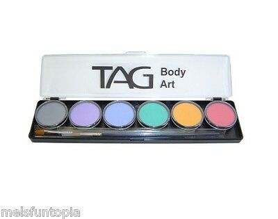 TAG Body Art 6 x 10g Pastel Palette & 2 Brushes, Face & Body Paint Makeup Party