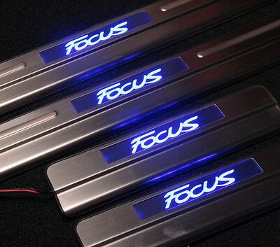 LED illuminated Flushing Door Sill Protector Panel Scuff Plate for Ford Focus LW