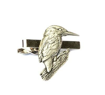 Kingfisher Tie Clip Bar Tack Slide Mens Pewter Gift British Countryside Present