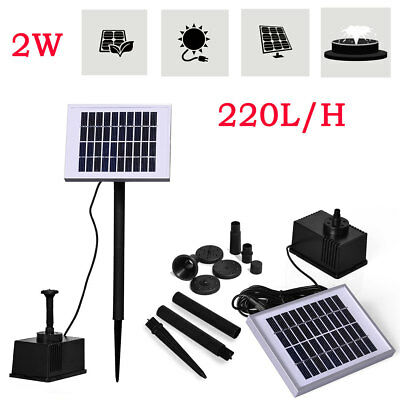 Garden Solar Power Panel Water Submersible Pump Fountain Pond Feature Kit 180L/H