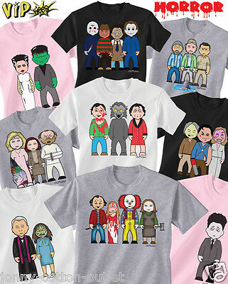 VIPwees Childrens T-Shirt Horror Movie Inspired Caricatures Choose Your Design